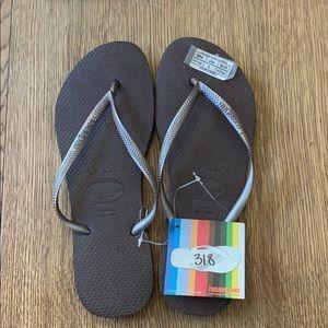 Havaianas, 41-42, dark brown, thin strap, new